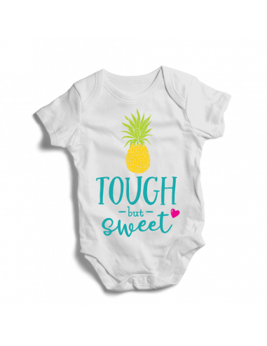 Tough but sweet, Pineapple baby girl bodysuit