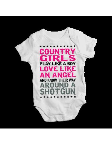 Country girls play like a boy…an angel…around a shotgun, baby bodysuit