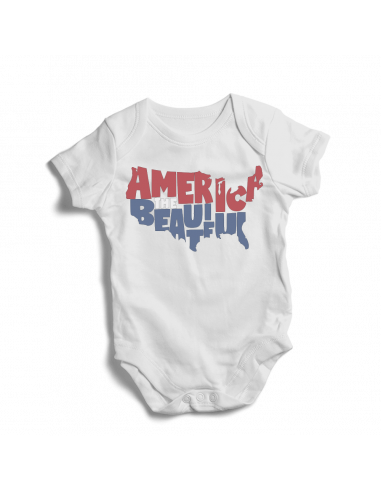 America the beautiful map , baby bodysuit