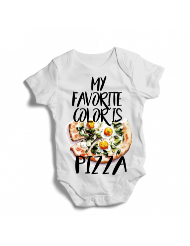 My favorite color is pizza, baby bodysuit