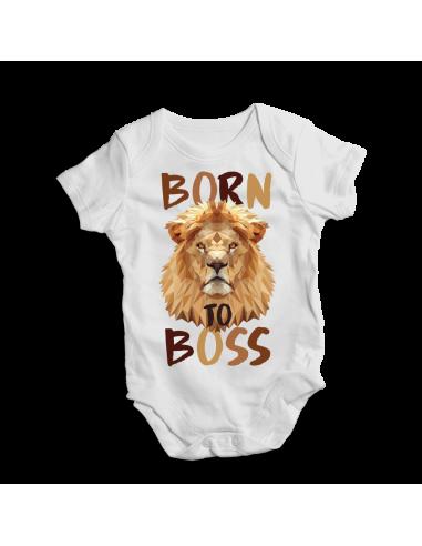 Born to boss, brown design baby bodysuit
