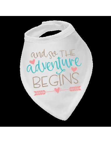 Baby bandana bib And so the adventure begins