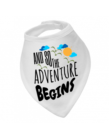 Baby bandana bib And so adventure begins