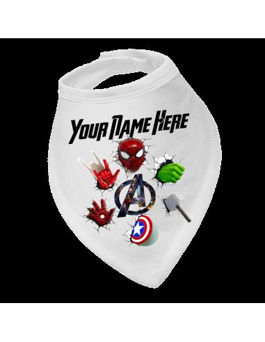 Baby bandana bib Marvel characters personalised
