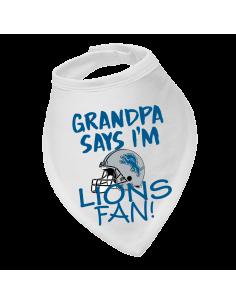 Baby bandana bib Grandpa say's I'm Lions fan!
