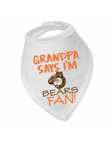 Baby bandana bib Grandpa say's I'm Bears fan!