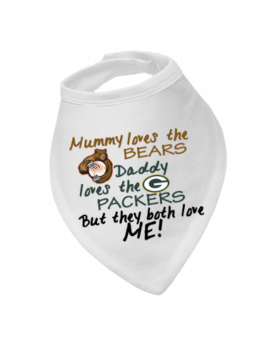 Baby bandana bib Mummy Loves Bears, Daddy loves Packers