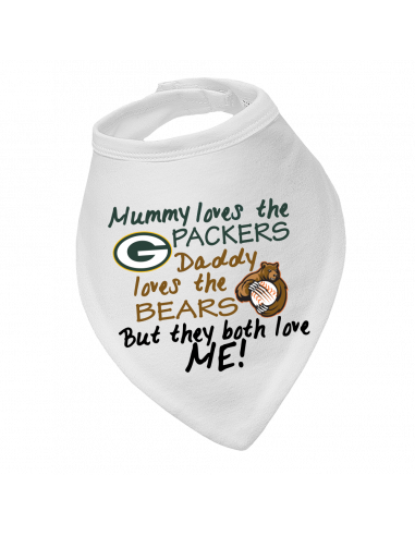 Baby bandana bib Mummy Loves Packers, Daddy Loves Bears