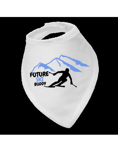 Baby bandana bib Future Ski Buddy with blue