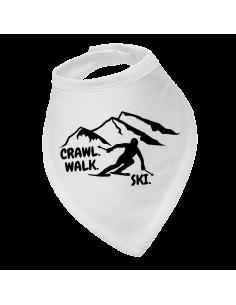 Baby bandana bib Crawl Walk Ski