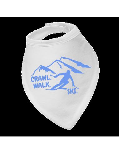 Baby bandana bib Crawl Walk Ski Blue