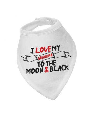Baby bandana bibs I Love My Grandma To The Moon & Black