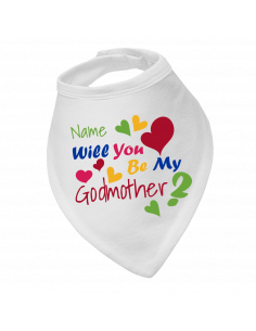 Baby bandana bibs, Will You Be My Godmother, personalised