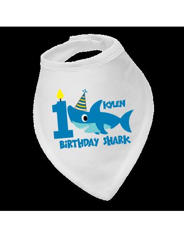 Personalised Birthday Bandana Bib, Birthday Boy Shark