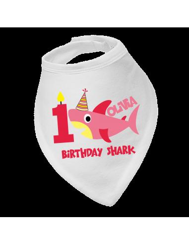 Personalised Birthday Bandana Bib, Birthday Girl Shark