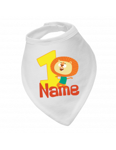 Baby bandana bib, Lion Birthday 1St, Personalised