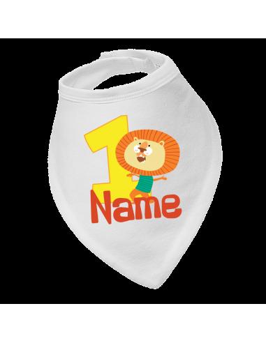 Baby bandana bib, Lion Birthday 1St, Personalised