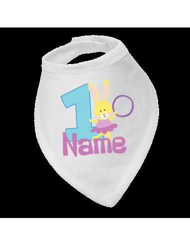 Baby bandana bib, Bunny Birthday 1St, Personalised