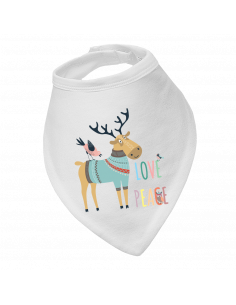 Baby bandana bib, Love Peace Deer!