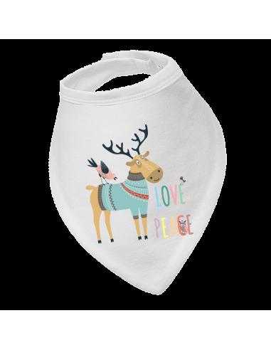 Baby bandana bib, Love Peace Deer!
