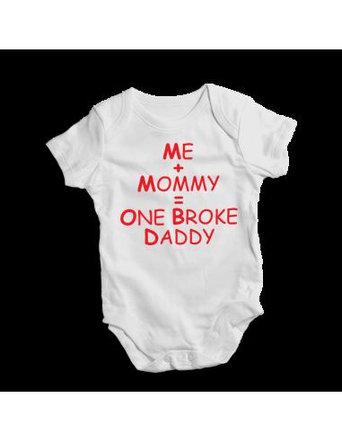 Me plus mommy - one broke daddy white baby bodysuit