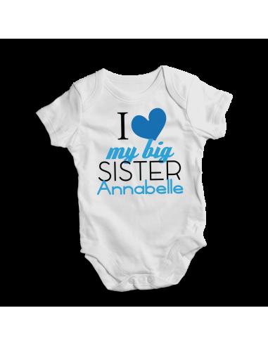 I love my big sister personalised white baby bodysuit