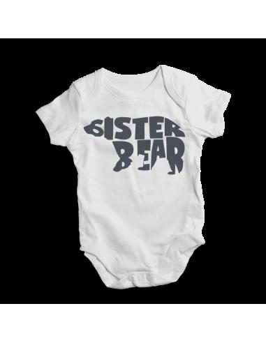 Sister bear, white unisex baby onesie