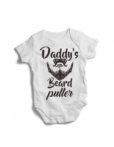 Daddy's little beard puller, baby onesie