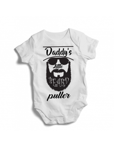 Daddy's little beard puller, black design on baby onesies