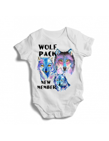 Wolf pack new member, baby bodysuit, blue design