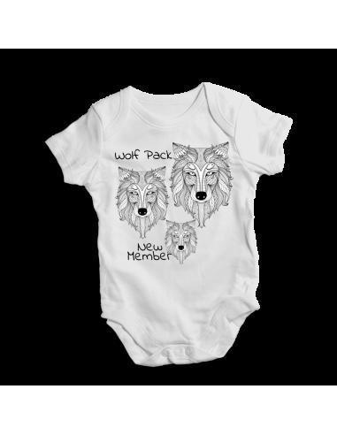 Wolf pack new member, baby bodysuit, boho style