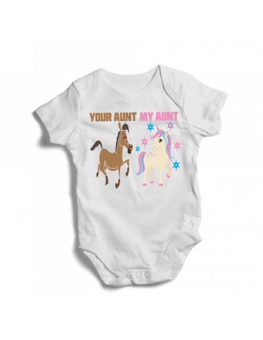 Your aunt, my aunt, unicorn baby onesies