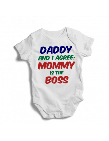 Daddy and I agree: Mommy is the boss, baby bodysuit