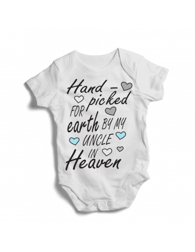 Hand picked for earth by my uncle in Heaven, baby bodysuit