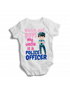 Watch out boys, my uncle is a police officer, baby bodysuit