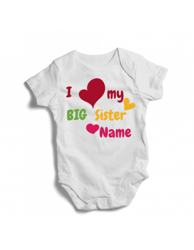 I love my big sister, personalsied baby bodysuit