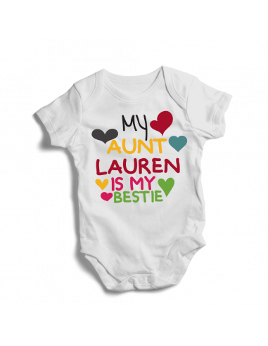 My aunt NAME is my bestie, personalised baby bodysuit