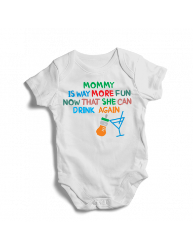 Mommy is way more fun now that she can drink again, baby bodysuit