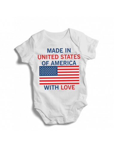 Made in USA of america, with love, baby bodysuit