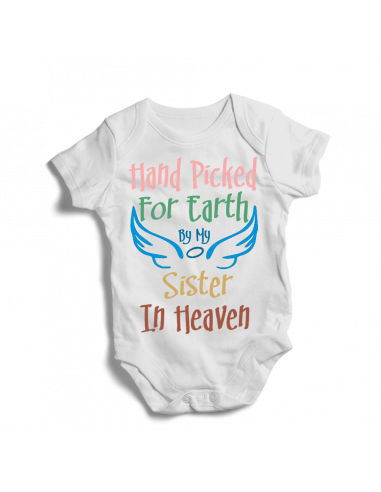 Hand Picked by my sister in heaven, cute white baby bodysuit