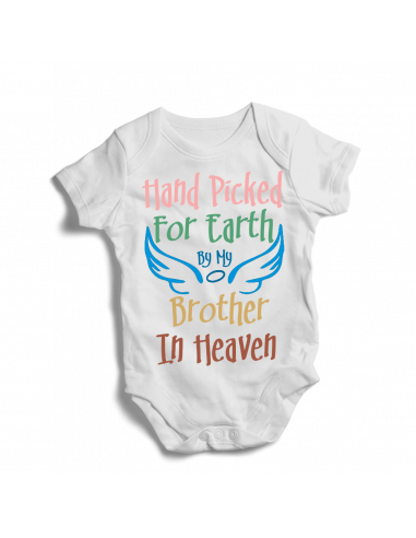 Hand Picked by my brother in heaven, cute white baby bodysuit