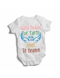 Hand Picked by my aunt in heaven, cute white baby bodysuit