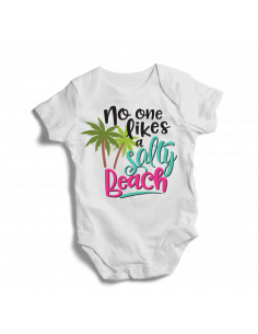 No one likes a salty beach, baby bodysuit