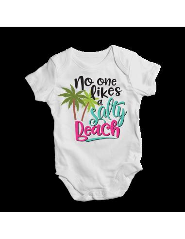 No one likes a salty beach, baby bodysuit