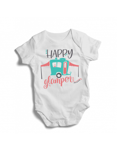 Happy glamper, camping baby bodysuit