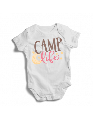 Camp life, camping, camper baby bodysuit