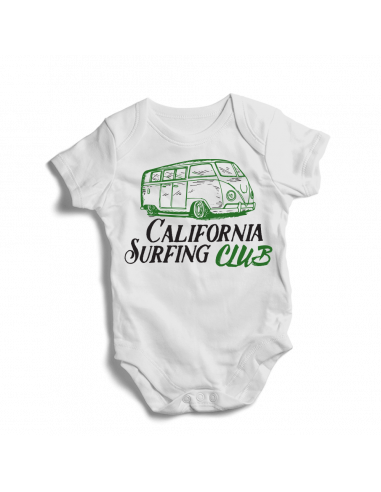 California surfing club, surfer fans baby bodysuits