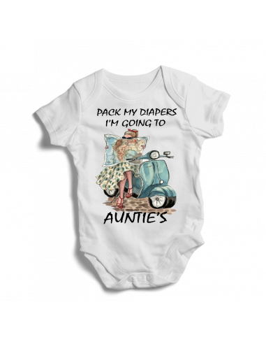 Pack my diapers, I'm going to auntie's, humor baby bodysuit