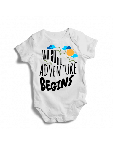 And so the adventure begins, baby bodysuit