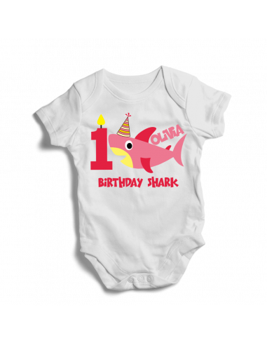 Personalised 1st birthday shark, baby girl bodysuit